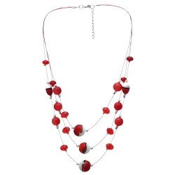 Mariah Red Wire Multi Strand Choker Necklace