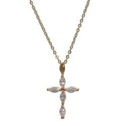 Devotion Gold Plated Crystal Cross Necklace