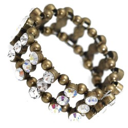 Amondi Burnished Gold tone AB Crystal Elasticated Bracelet