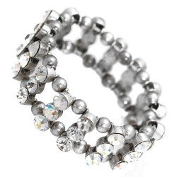 Amondi Burnished Silver tone AB Crystal Elasticated Bracelet