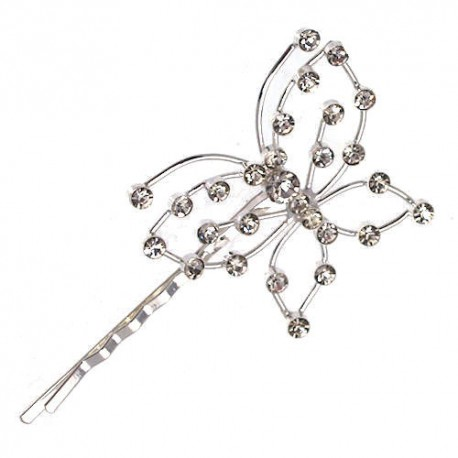 Empress Silver tone Crystal Butterfly Hair Clip