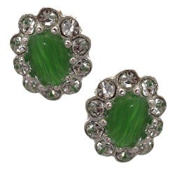 Adorlee Silver tone Lime Green Crystal Clip On Earrings