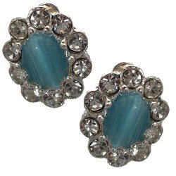 Adorlee Silver tone Turquoise Crystal Clip On Earrings