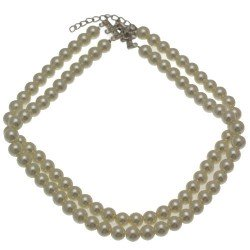 La Reina 2 strand Cream faux Pearl Choker Necklace