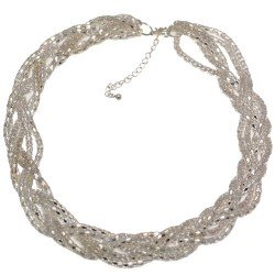 Elke Silver tone Plaited Necklace