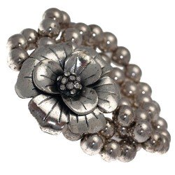 Caelia Silver tone Crystal Flower Elasticated Bracelet