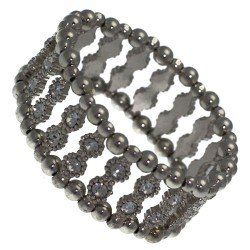 Cannelle Antique Silver tone Double Crystal Elasticated Bracelet