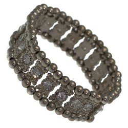 Cannelle Antique Silver tone Single Crystal Elasticated Bracelet