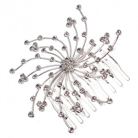 Comet Silver tone Crystal Hair Comb