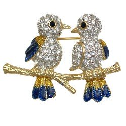 BIRDINA Gold Plated Crystal 2 Bird Brooch