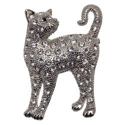 COOKIE Silver plated Crystal Cat Brooch