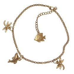 ADRIKA Gold Plated Dragonfly, Dolphin & Fish Ankle Chain