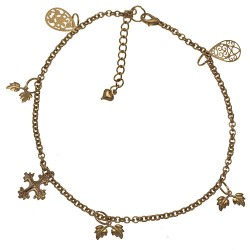 BINATA Gold Plated Cross and Leaves Ankle Chain
