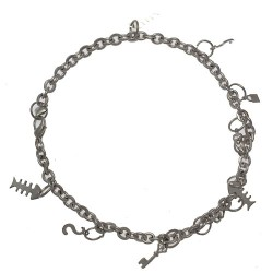 CHANDRAKALA Silver Plated Fish, Hearts and Dollars Ankle Chain