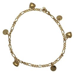 ECCHUMATI Gold Plated Heart and Disk Ankle Chain