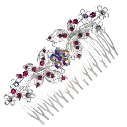APATURA Silver Amthyst Crystal Butterfly Hair Comb