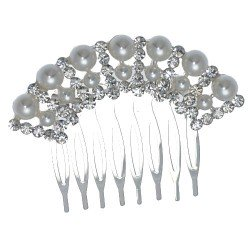 LOLLA-ROSIE Small Silver tone Crystal faux Pearl Hair Comb